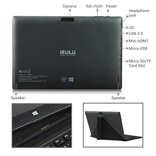 iRULU Walknbook 10 1 Inch Tablet PC, 32GB Hybrid Laptop, 2-In-1 Tablet,  Microsoft Windows 10 OS, Quad Core,1280*800 Resolution, Detachable Keyboard