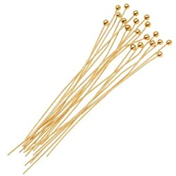 Beadaholique 10-Piece Ball Head Pins, 1.5mm, 1.5-Inch, 14K Gold by Beadaholique