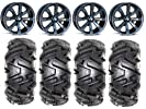 MSA Dark Tint Enduro 16″ ATV Wheels 30″ Moto MTC Tires Kawasaki Teryx Mule