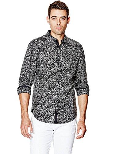 GUESS Men's Long-Sleeve Speckle-Print Slim-Fit Shirt