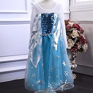 Frozen Elsa Snow Queen Inspired Blue Satin Snowflake Costume 2-13 Years (150cm  8/9 Years)