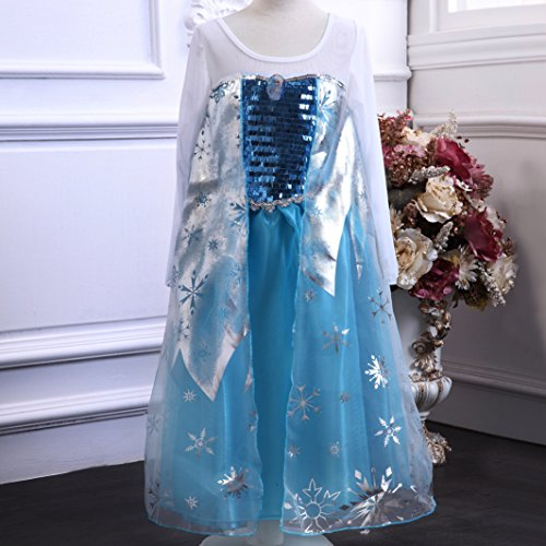 Girls Snow Queen Elsa Costume Snowflake Princess Dress up