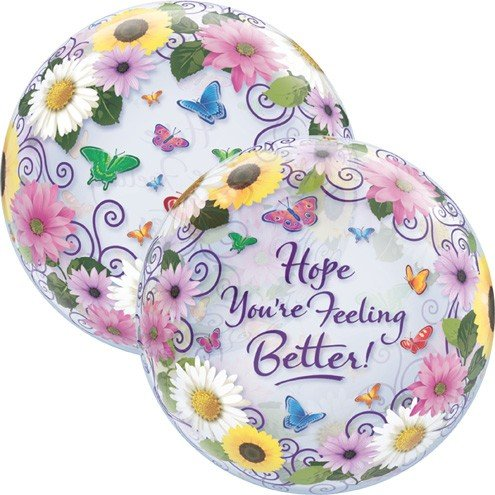 22 Inch Feel Better Garden Butterfly 3D Bubble Balloons