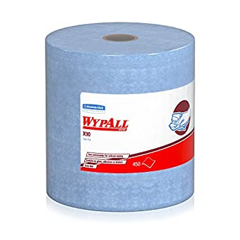 "WypAll X90 Extended Use Reusable Wiping Cloths (12889) Jumbo Roll, Blue Denim, 12.6"" Length x 11.8 Width (roll of 450 sheets)"