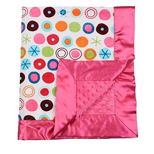 """My Blankee Circle O Le Minky White w/ Minky Dot Raspberry Baby Blanket, 30"""" x 35"""""""