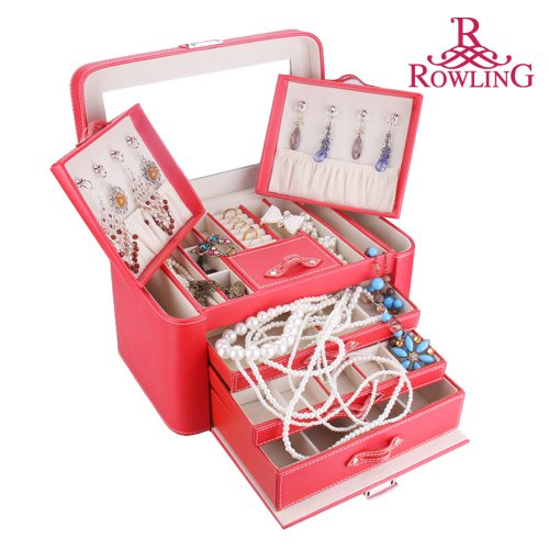 Rowling Large Red Pu Leather Earring Ring Necklace Storage Case Multilayer jewelry box Princess cosmetic box ZG149