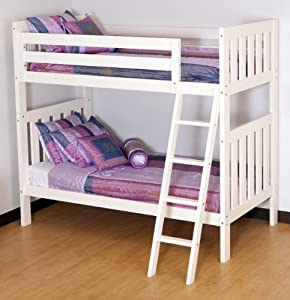 Canwood Alpine II Twin over Twin Bunk Bed with Angled Ladder/Guard Rail, White
