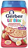 Gerber Baby Cereal, Lil Bits-Oatmeal Banana Strawberry, 8 Ounce (Pack of 6)
