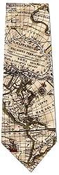 Museum Artifacts World Globe Map Silk Tie