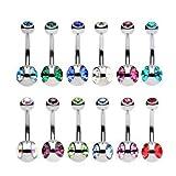 Kuyou - plata Piercing de Ombligo de Vientre Múltiples Colores Joyería Bola Pendientes (12 Colour)