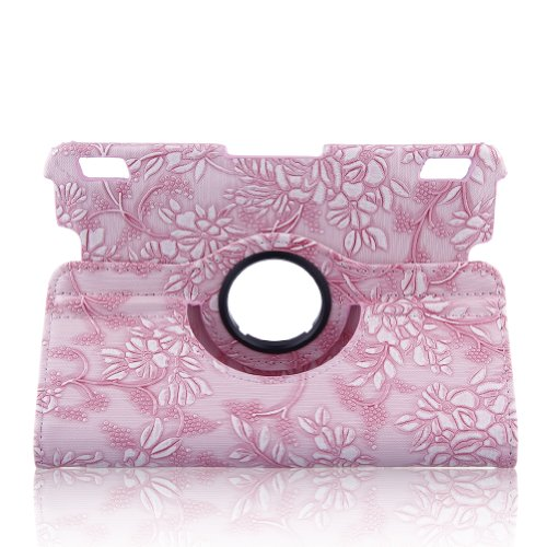 Topchances 2013 Kindle Fire Hdx 7 Defense Case With Wake/Sleep Capability And 360 Degree Rotating Stand Function-Pink Emblossed Flower Design