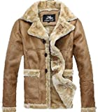 Mens Faux Leather Pilot Air Force Fur Lining Suede Thick Jacket Coat Outwear by NYC Leather Factory Outlet