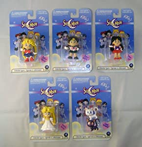 6 Piece Sailor Moon PVC Set Includes: Sailor Moon, Serena, Sailor Jupiter, Sailor Mars, Princess Serena and Luna & Artemis