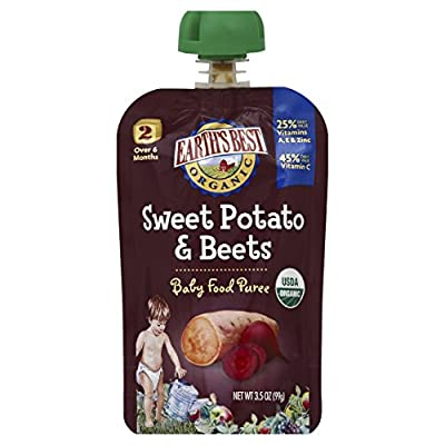 Earth's Best Organic Stage 2, Sweet Potato & Beets, 3.5 Ounce Pouch (Pack of 12) from Hain Group (Earth's Best)