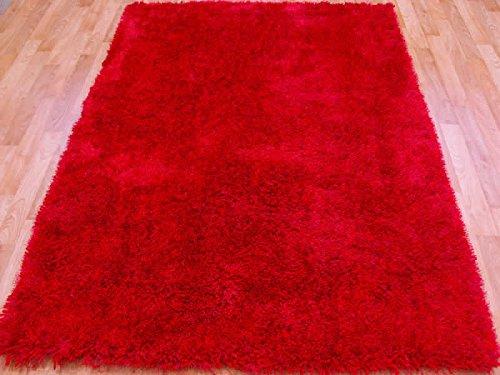 Red Shaggy Shag Area Throw Rug 5x7 High End Designer Quality Flokati High Pile Soft Iridescent Sheen Ultra Plush 2004