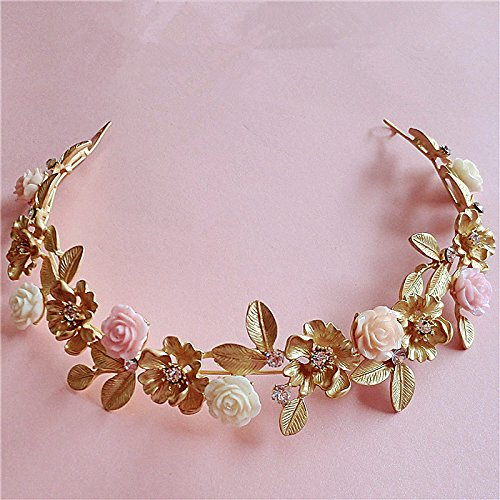 Lsinyan Gold Leaf Ceramic Flower Hair Bands Wedding Dress with Jewelry Baroque Crown Headdress Bride Water Drill Bit Flower Hair Accessories