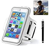 BestElec Universal Running Jogging Cycling Sports Gym Armband Arm Band Case Cover for Apple iPhone 6 4.7 & Samsung Galaxy S6 5.1 inch with Key Holder Slot,Lifetime Guarantee-Waterproof-Sweat proof-Dirt proof, Casual PU Brush Surface Workout Cover Sport Gym Case-Retail packaging-White (Compatible with Cellphones up to 5.2 Inch, will Not Fit iPhone 6 Plus)