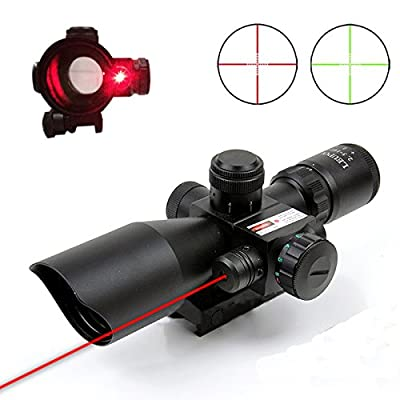 Pinty 2.5-10x40 AOEG Red Green Illuminated Mil-dot Tactical Rifle Scope with Red Laser Combo - Green Lens Color by Pinty