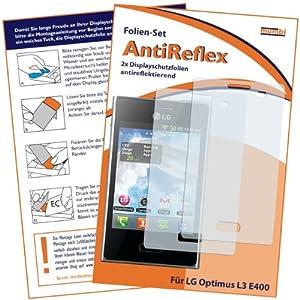 2 x mumbi Displayschutzfolie LG Optimus L3 E400 Schutzfolie AntiReflex antireflektierend