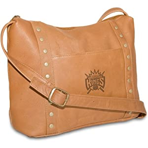 NBA Tan Leather Ladies Mini Top Zip Handbag by Pangea Brands