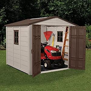 Suncast 8x8 storage shed building kit with for Garden shed 8x8
