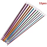 """Yueton 11 Different Size 10.5"""" Multicolour Aluminum Tunisian/afghan Crochet Hook Needles (Pack of 11, 2.0mm-8mm)"""