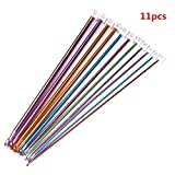 "yueton 11 Different Size 10.5"" Multicolour Aluminum Tunisian/afghan Crochet Hook Needles (Pack of 11, 2.0mm-8mm)"