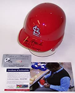 Lou Brock Autographed Hand Signed St. Louis Cardinals Mini Batting Helmet - with... by Creative+Sports