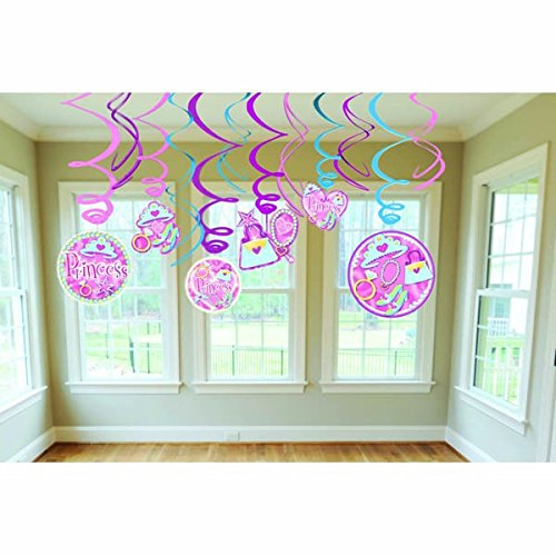 Amscan Sparkling Princess Swirl Decorations Value Pack (12 Piece), Pink - 1