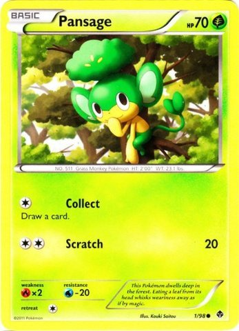 Pokemon - Pansage (1) - Emerging Powers - Reverse Holo