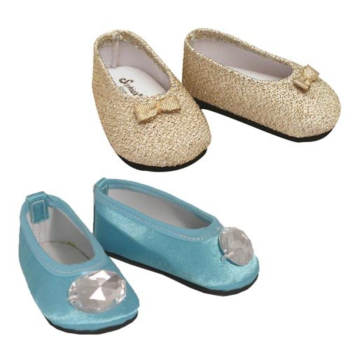 "Turquoise Jeweled Flats & Gold Glitter Shoes, Fits 18"" American Girl Dolls, 2 Pair Doll Shoes Set"
