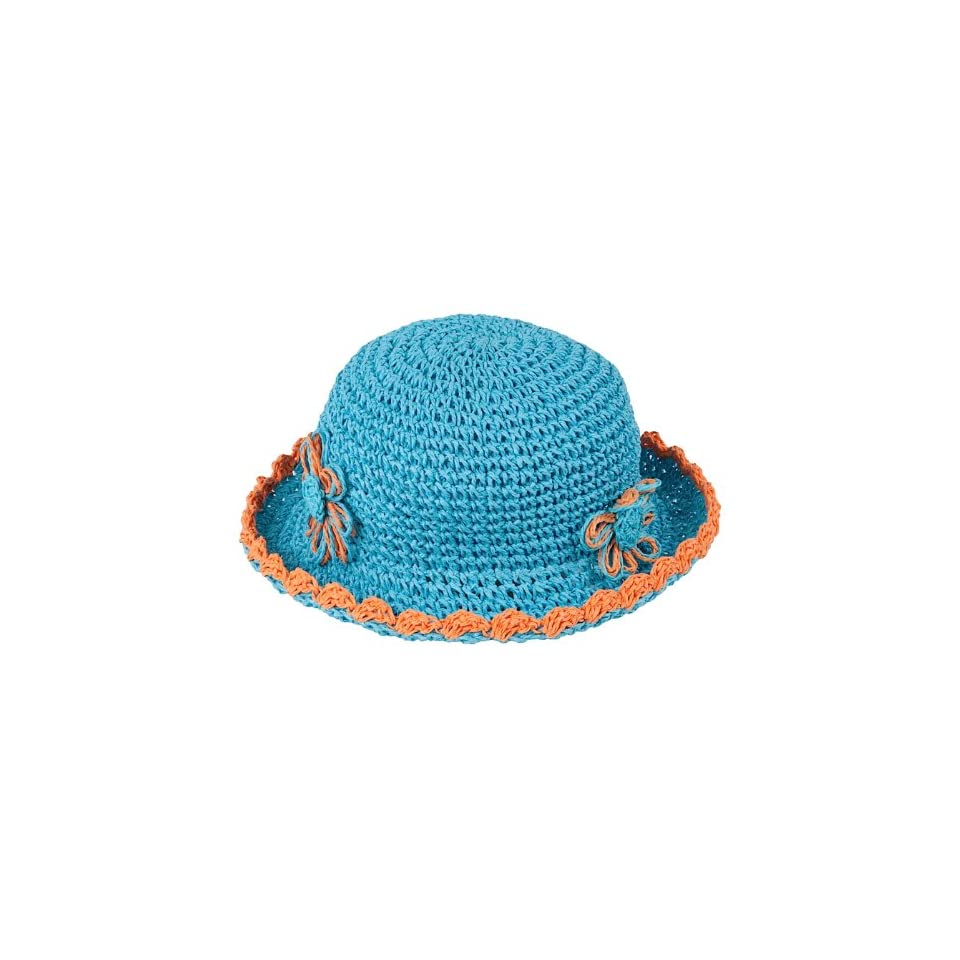 D&Y Kids Little Girls Turquoise Straw Sun Hat with Flower Accent