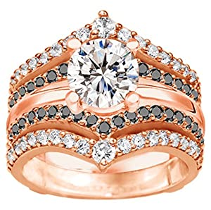 Black And White Cubic Zirconia Double Row Chevron Style Anniversary Ring Guard set in 10k Rose Gold (1.52 Cts TWT)