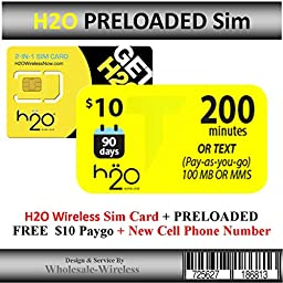 H2o Wireless Sim Card + Preloaded $10 Paygo