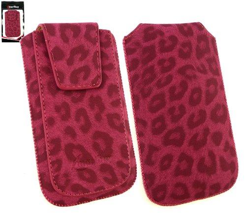 Emartbuy® Klassischer Serie Faux Suede Leopard Rosa Tasche Hülle Schutzhülle Case Cover (Größe Xl) mit Ausziehhilfe geeignet für Nokia Lumia 610