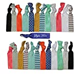 Premium No Crease Ribbon Hair Ties - 25-Pack as Pictured - No Damage or Tug Creaseless Elastic Ponytail Holders - Hair Accessories by Styla Hair