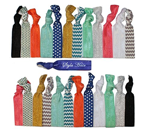 Premium No Crease Ribbon Hair Ties - 25-Pack as Pictured - No Damage or Tug Creaseless Elastic Ponytail Holders - Hair Accessories by Styla Hair (Hair Ties Real Hair compare prices)
