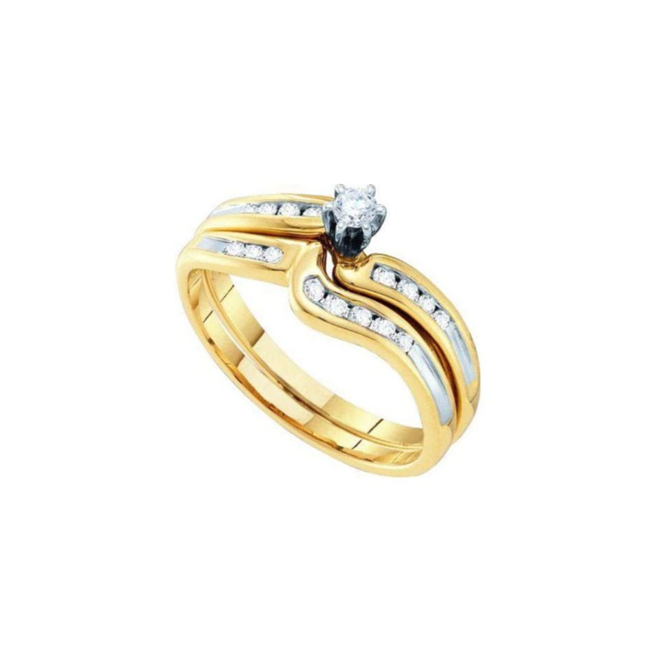 0.27 cttw 10k Two Tone Gold Diamond Six Prong Solitaire Round Brilliant Diamond Channel Engagement Ring and Wedding Band Set (Real Diamonds 0.27 cttw, Ring Sizes 4 10) Jewelry