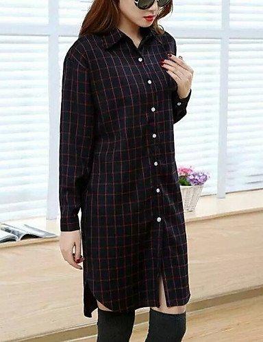 ZXR-Femme-gomtrique-bleurougenoirgris-pour-femme-col-chemise--manches-longues