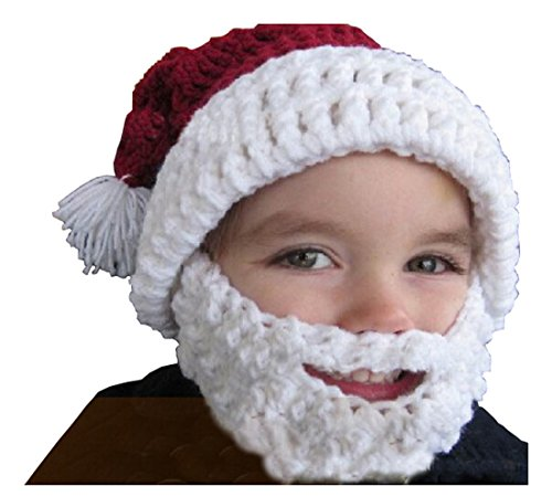 Boys Knitted Winter Hat with Beard Christmas Santa Beanie