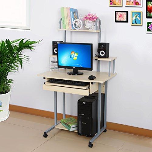 Songmics Scrivania per computer Scrivania ufficio porta PC Tavolo per Computer Con Ripiani Tastiera Scorrevole Naturale LCD778N