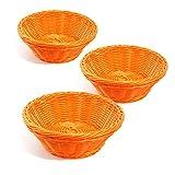 Colorbasket 31117-206 Hand Woven Waterproof Round Basket, Bright Orange, Set of 3