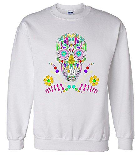 Day of The Dead Skull Flower Glasses Sweatshirt Sweater Sport Grey XL SWTP9879468