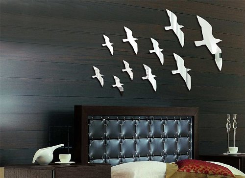Toprate(Tm) Silver Flying Birds In The Sky Modern Stylish Fashion Art Design Removable Diy Acrylic 3D Mirror Wall Decal Wall Sticker For Bedroom Tv Background Wall Home Decoration front-155132