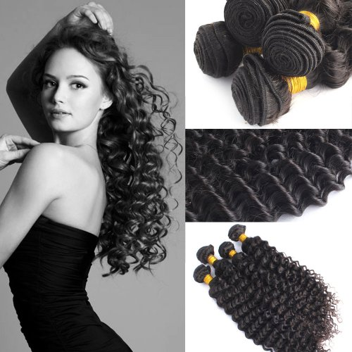 Yesurprise New Top Quality 28 Inches Remy 100% Brazilian Hair Extension Deep Wave Wavy Curly Human Hair Charming Sale Trendy