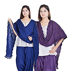 Kalrav Solid Blue and Purple Cotton Dupatta Combo