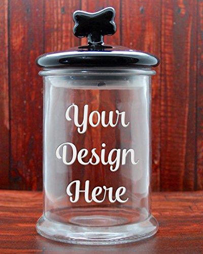 Custom Dog Treat Jar with Black Ceramic Dog Bone Lid - Glass Etched Personalized Cat Treat Jar - Pet Treat Jar - Large (Personalized Dog Treat Jar compare prices)