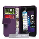 Blackberry Z10 Case Purple PU Leather Wallet Coverby Yousave Accessories