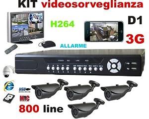 KIT VIDEOSORVEGLIANZA REGISTRATORE DVR 4CH H264 FULL D1 con Allarme + N. 4 Telecamere CMOS 800 ...
