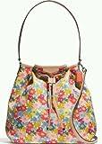 Coach 28922 Signature Stripe Floral Print Drawstring Shoulder Bag